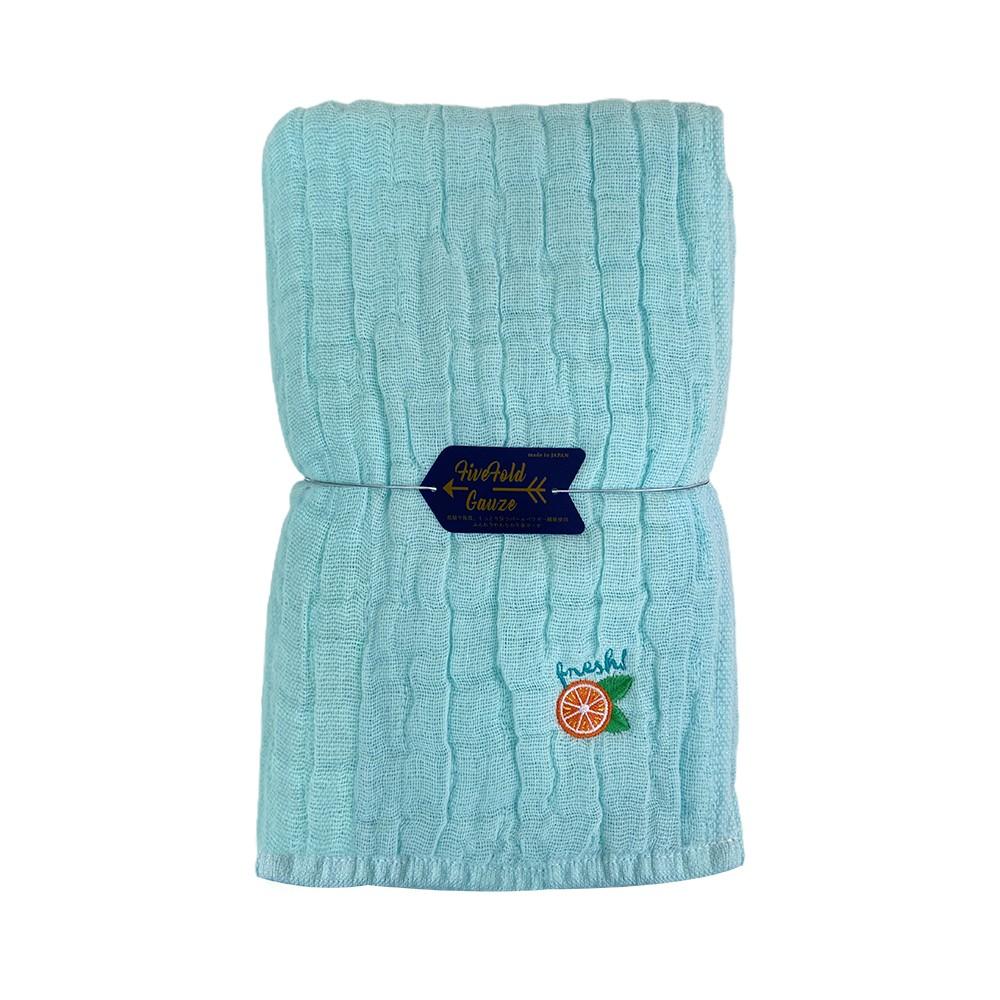 Nicott 日本五重珍珠紗浴巾 〈水藍柳橙〉