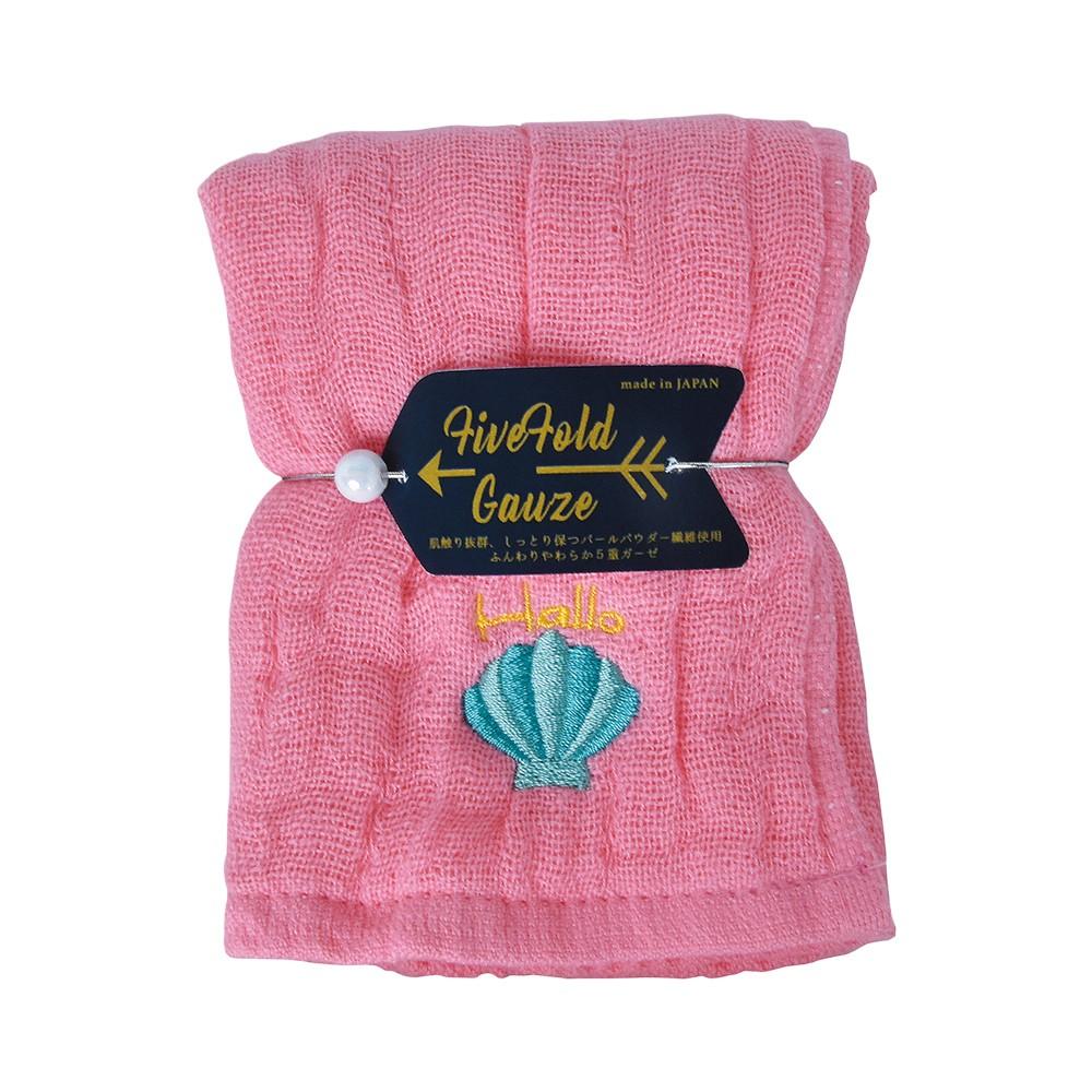 Nicott 日本五重珍珠紗方巾 〈桃粉海貝〉