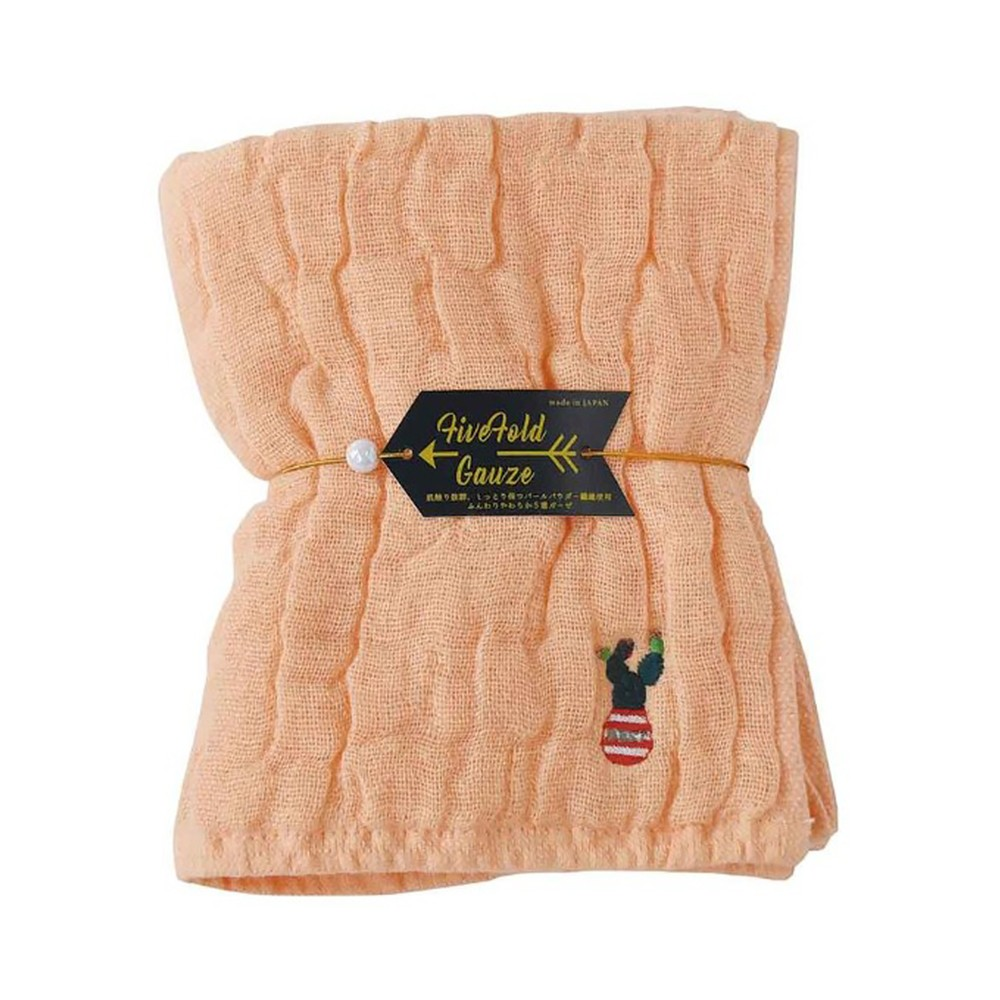 Nicott 日本五重珍珠紗毛巾 〈粉橘仙人掌〉