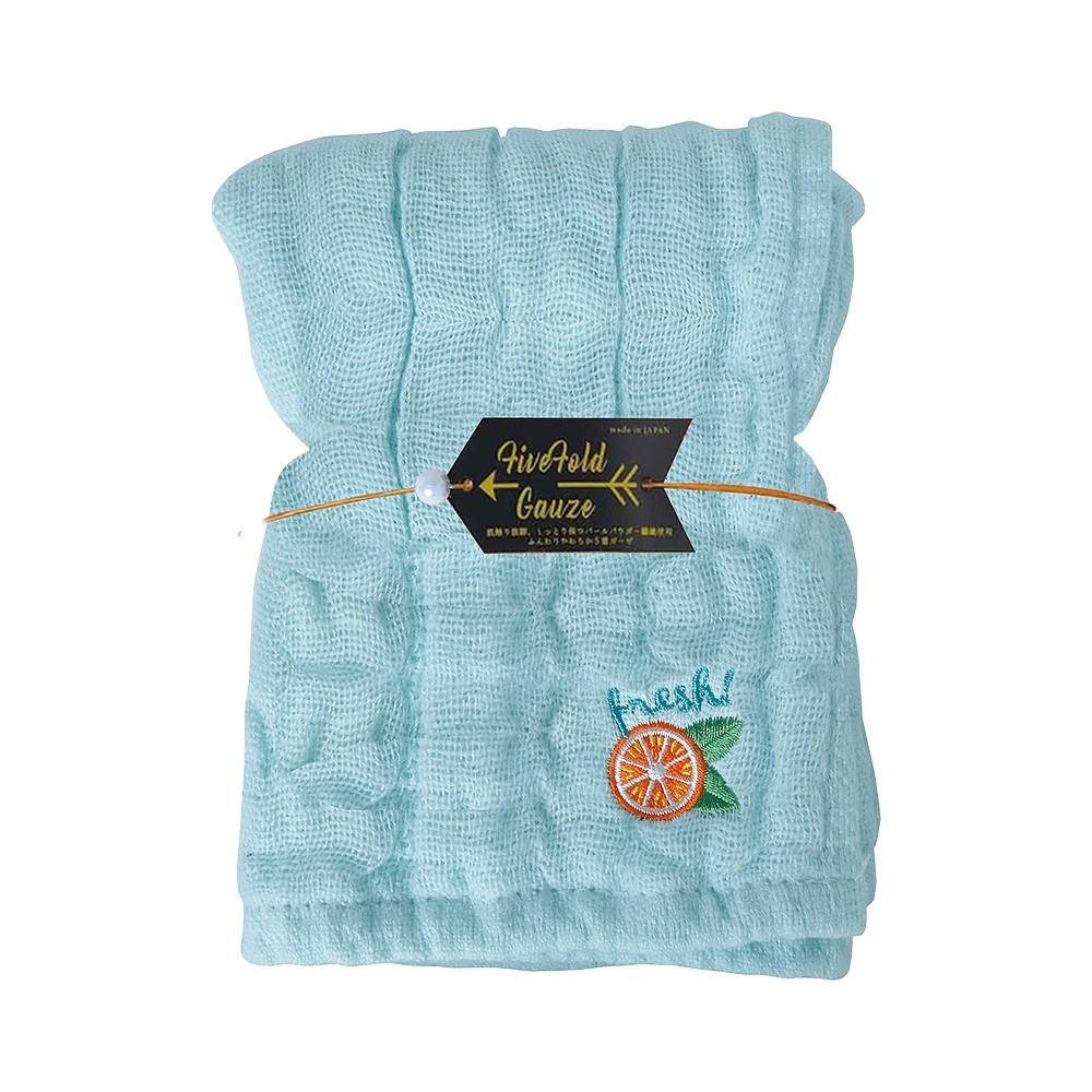 Nicott 日本五重珍珠紗毛巾 〈水藍柳橙〉