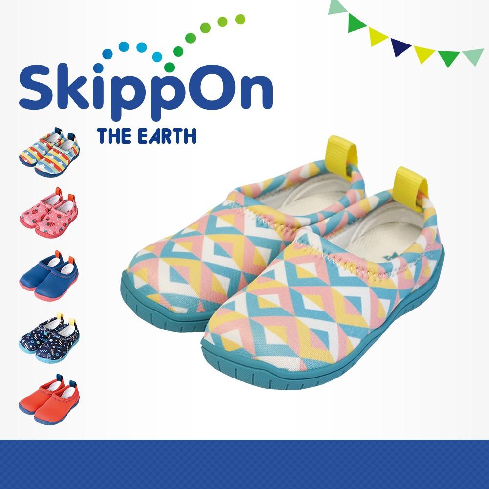 日本SkippOn─「ISEAL VU系列」兒童休閒機能鞋〈幾何馬卡龍 〉