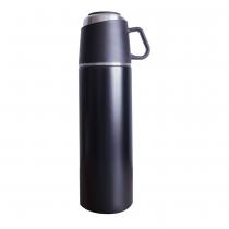 【日本ROCCO】 ONE PUSH & CUP 兩用保溫瓶(500ml)  曜石黑