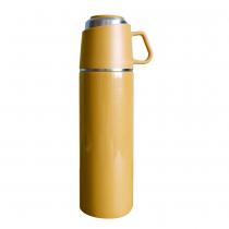 【日本ROCCO】 ONE PUSH & CUP 兩用保溫瓶(500ml)  暖陽黃
