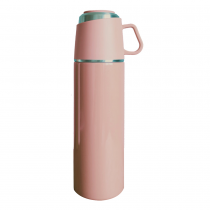 【日本ROCCO】 ONE PUSH & CUP 兩用保溫瓶(500ml)  莫蘭迪粉