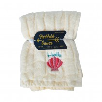 Nicott 日本五重珍珠紗方巾 〈鵝黃海貝〉