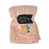 Nicott 日本五重珍珠紗方巾 〈粉橘柳橙〉