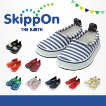日本SkippOn─兒童休閒機能鞋〈海軍藍條紋〉