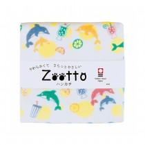日本 Zootto今治認證速乾紗布方巾〈 夏日的海豚 〉