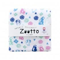 日本 Zootto今治認證速乾紗布方巾〈企鵝與和果子 〉
