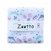 日本 Zootto今治認證速乾紗布方巾〈海豚與金太郎糖 〉