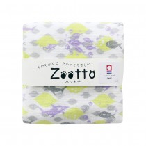 日本 Zootto今治認證速乾紗布方巾〈鯊魚與萊姆 〉