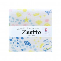 日本 Zootto今治認證速乾紗布方巾〈海底樂園 〉